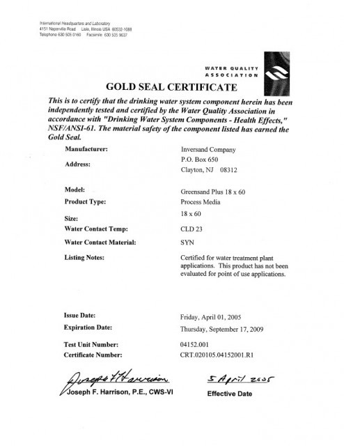 Gold Seal Certificate