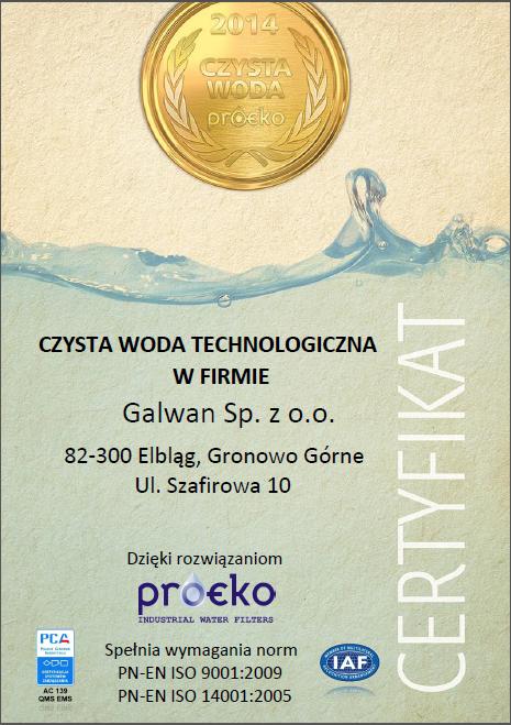 Certyfikat firmy Galwan