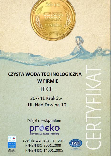 Certyfikat firmy TECE